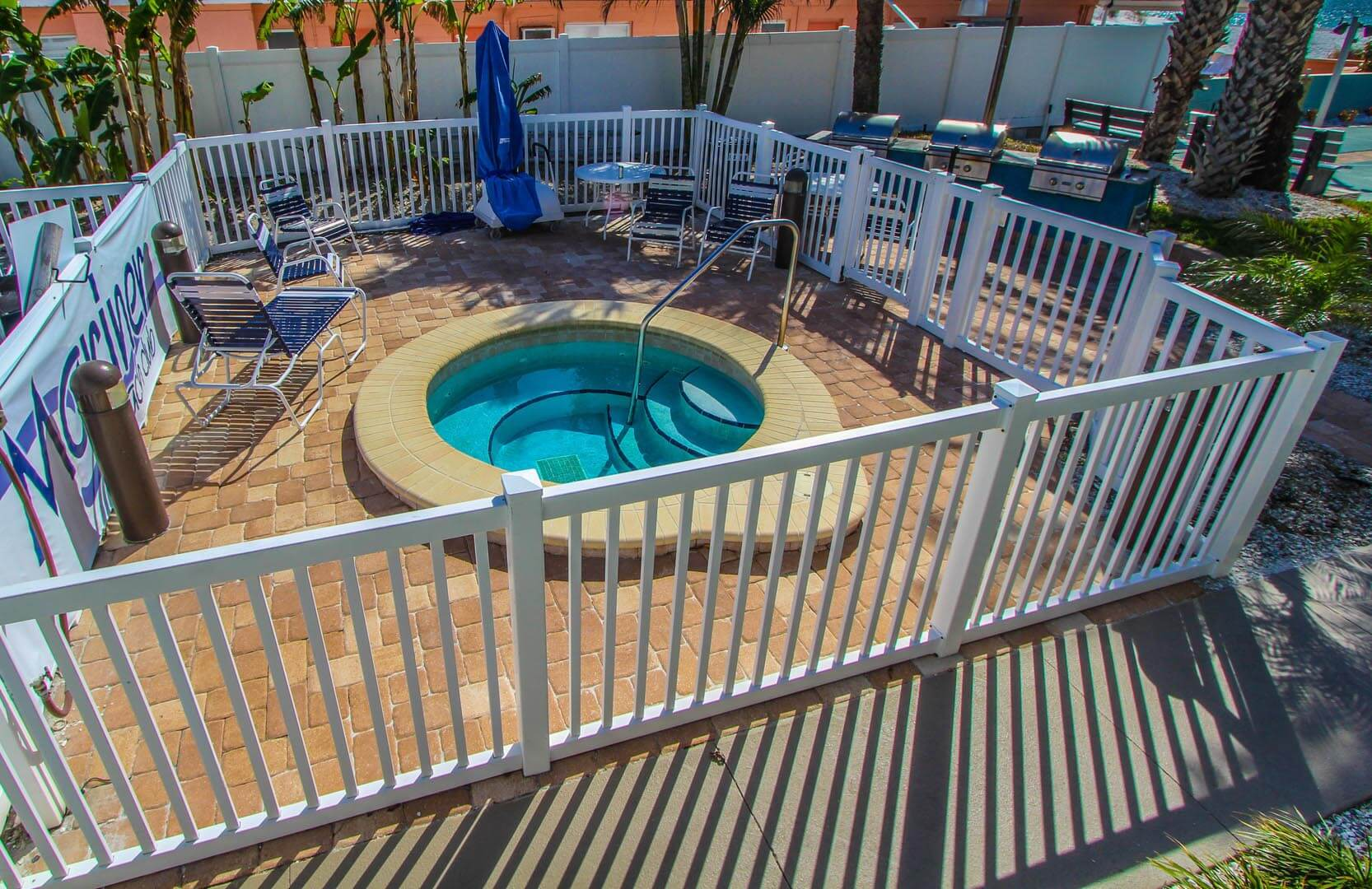 The outside Jacuzzi tub at VRI's Mariner Beach Club in St. Pete Beach, Florida.