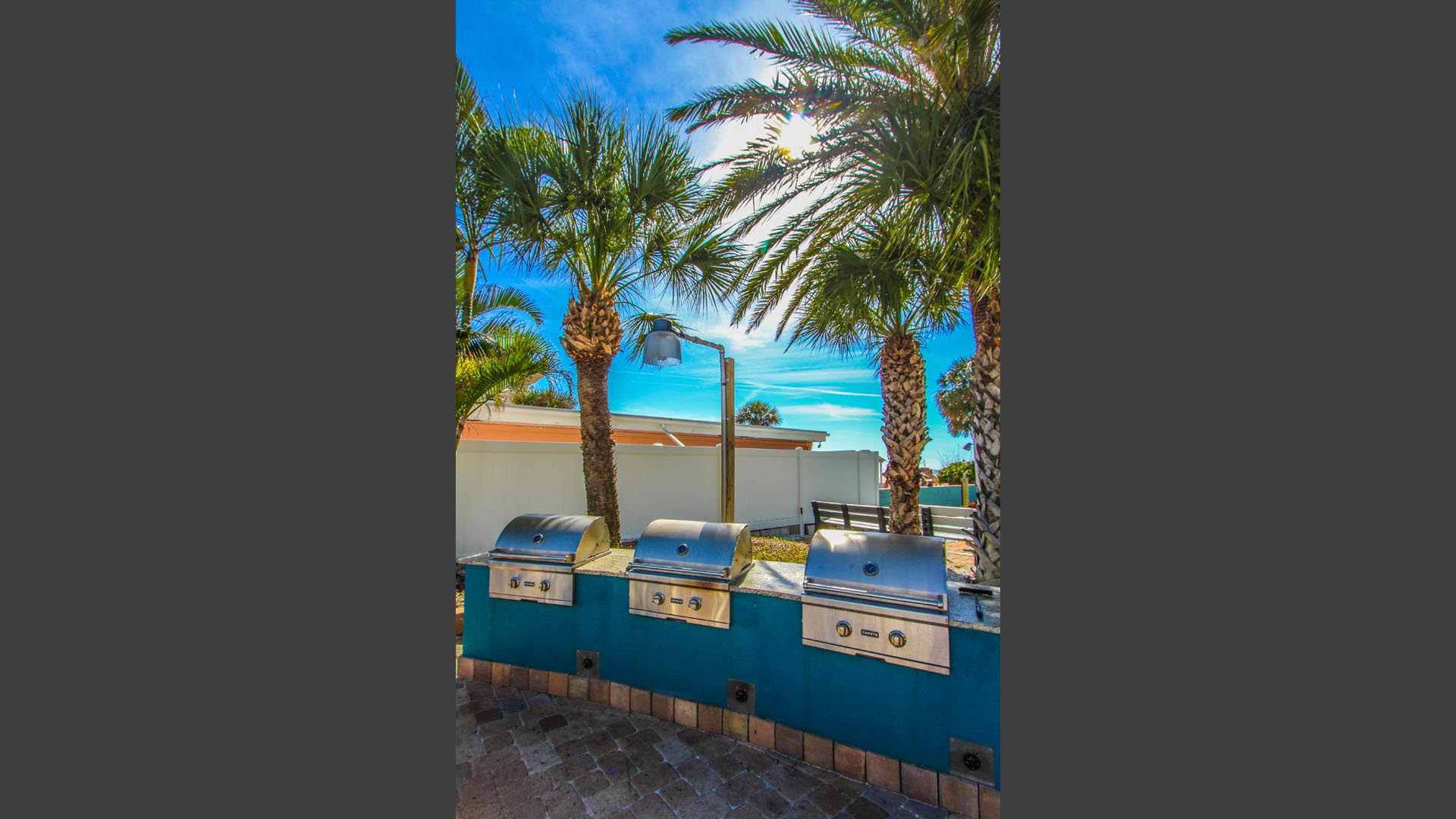 A BBQ area for the family to enjoy at VRI's Mariner Beach Club in St. Pete Beach, Florida.