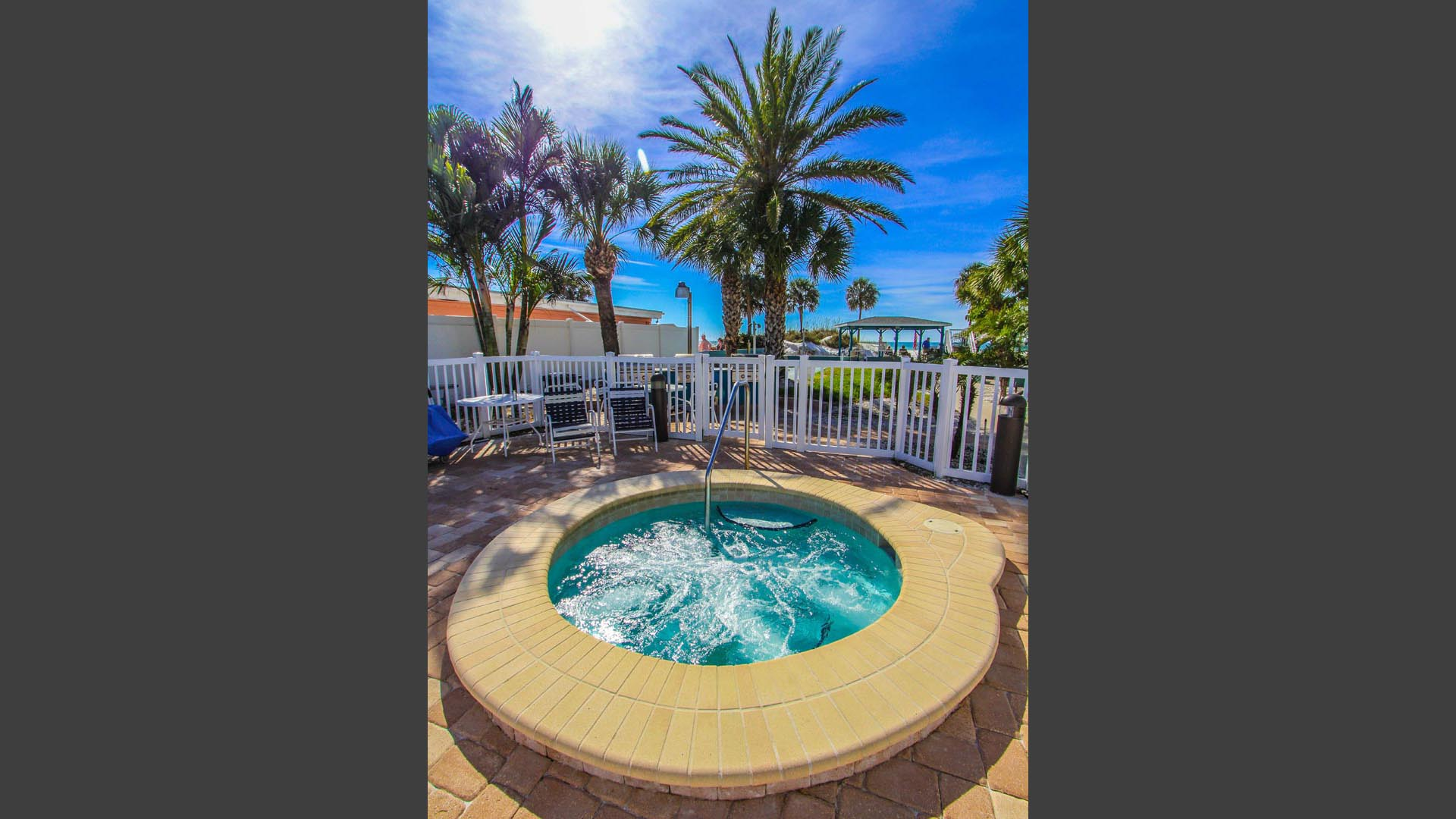 A relaxing Jacuzzi tub at VRI's Mariner Beach Club in St. Pete Beach, Florida.