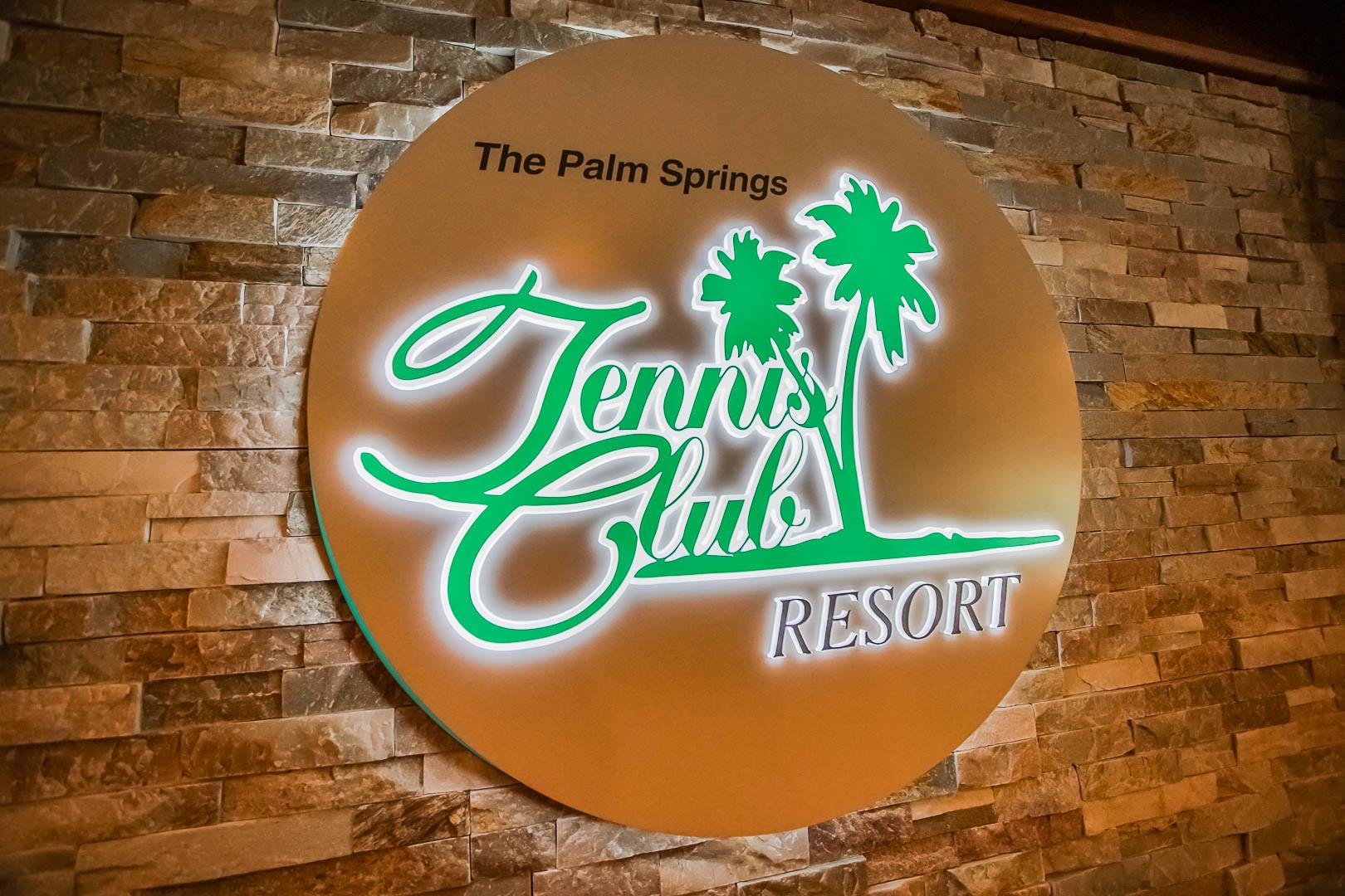 A modern resort signage at VRI's Palm Springs Tennis Club in California.