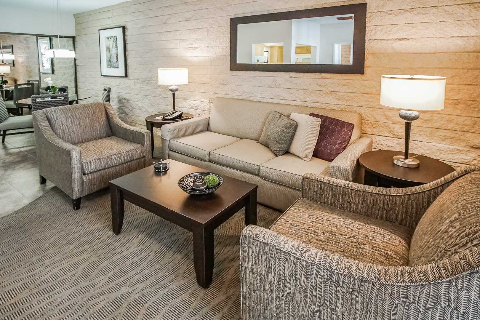 A modern living room area at VRI's Palm Springs Tennis Club in California.
