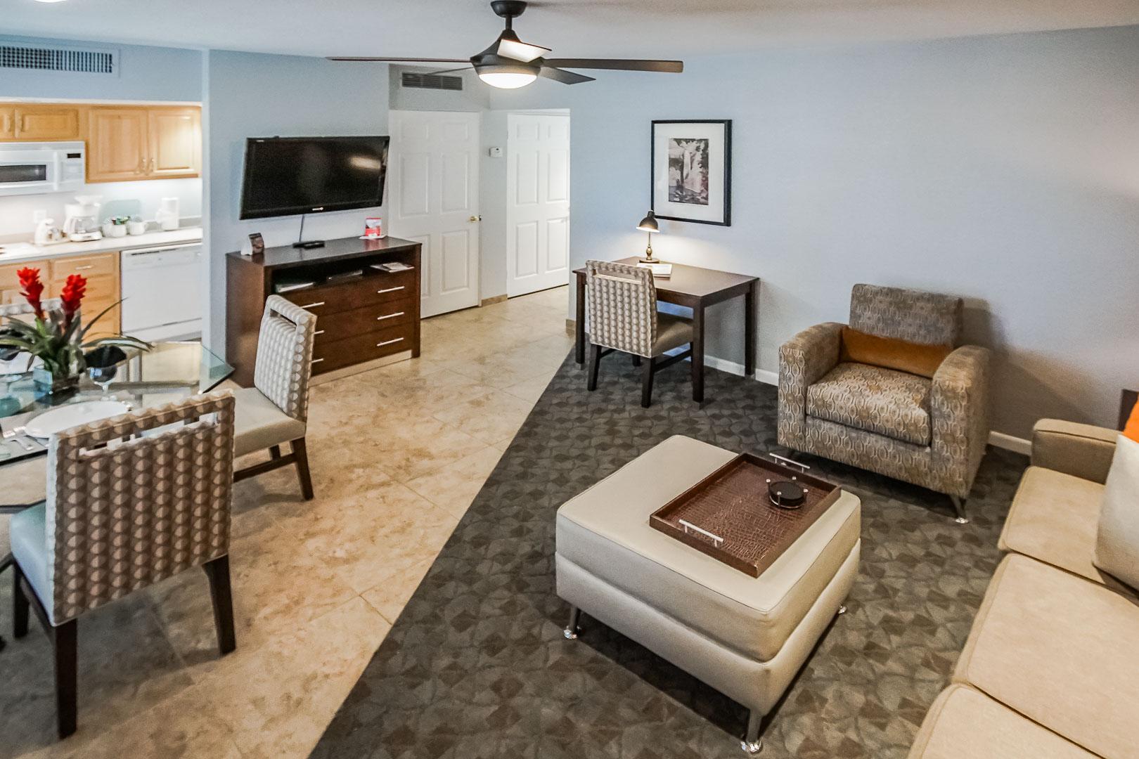 A modernized living room at VRI's Palm Springs Tennis Club in California.