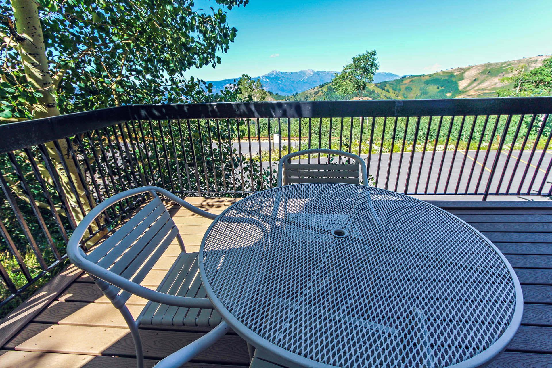 A scenic balcony view at VRI's Powder Ridge Village in Eden, Utah.