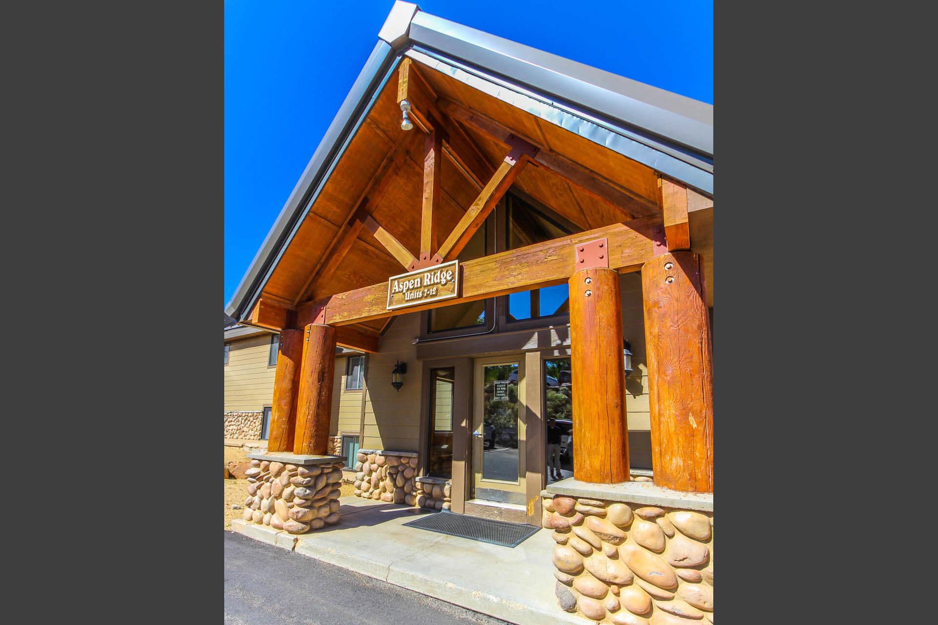 A welcoming resort entrance at VRI's Powder Ridge Village in Eden, Utah.