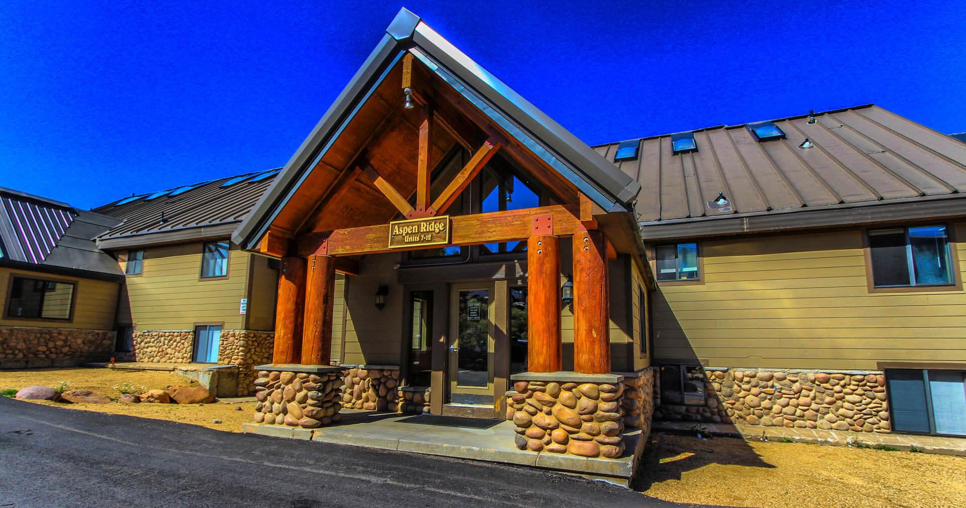 A welcoming entrance at VRI's Powder Ridge Village in Eden, Utah.
