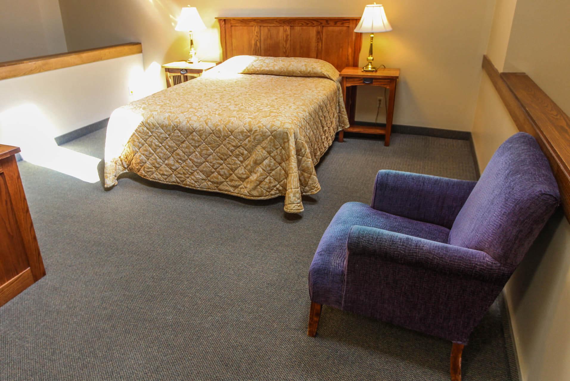 A loft with a queen bed at VRI's Powder Ridge Village in Eden, Utah.