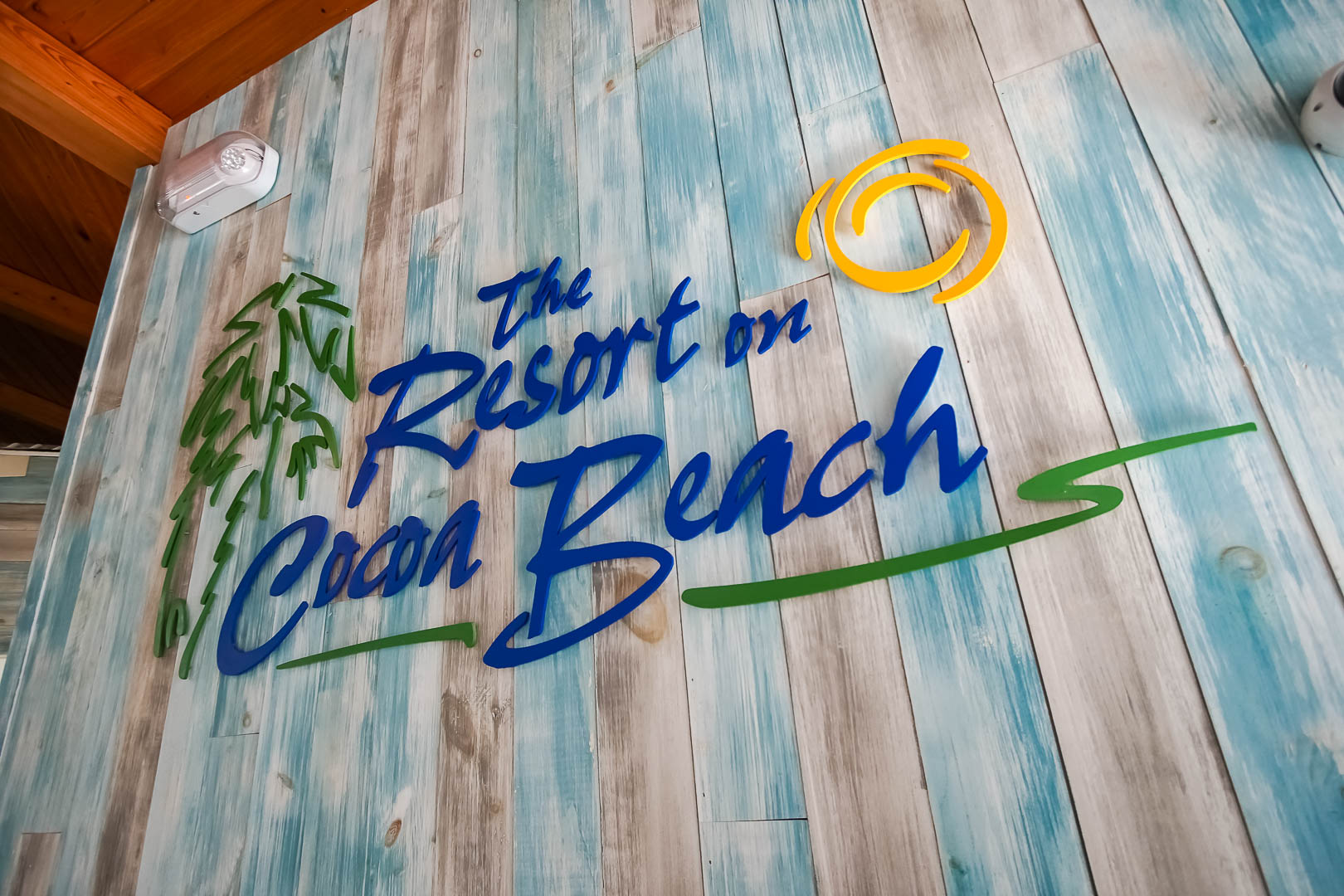 The colorful resort signage at VRI's The Resort on Cocoa Beach in Florida.