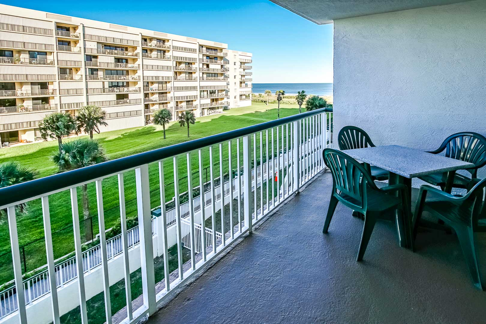 A scenic ocean view from the balcony at VRI's The Resort on Cocoa Beach in Florida.