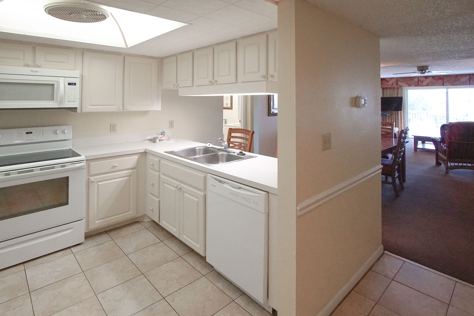 A clean kitchen at VRI's Sand Pebble Resort in Treasure Island, Florida.