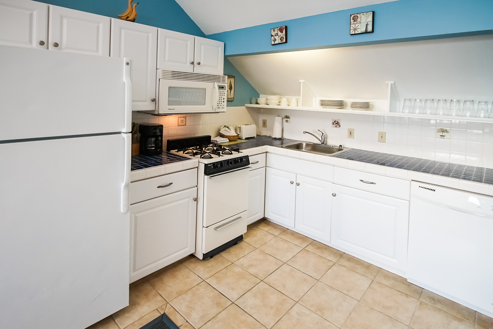 A clean and expansive kitchen at VRI's Seawinds II Resort in Massachusetts.