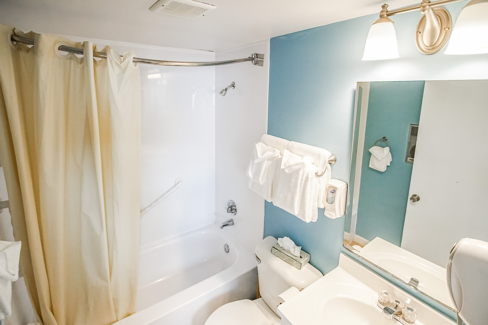 A clean bathroom view at VRI's Seawinds II Resort in Massachusetts.