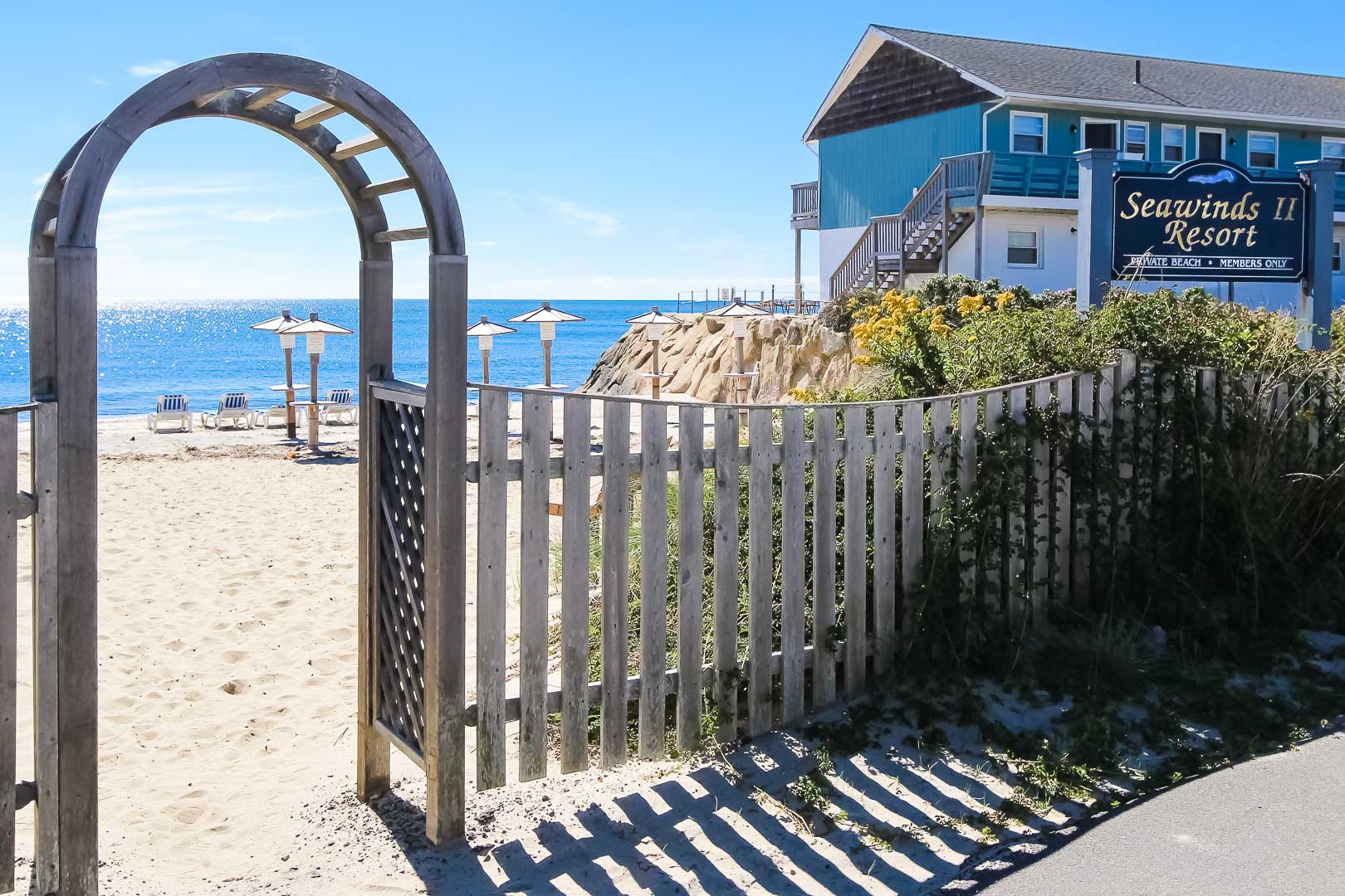 A beautiful entrance to the beach at VRI's Seawinds II Resort in Massachusetts.