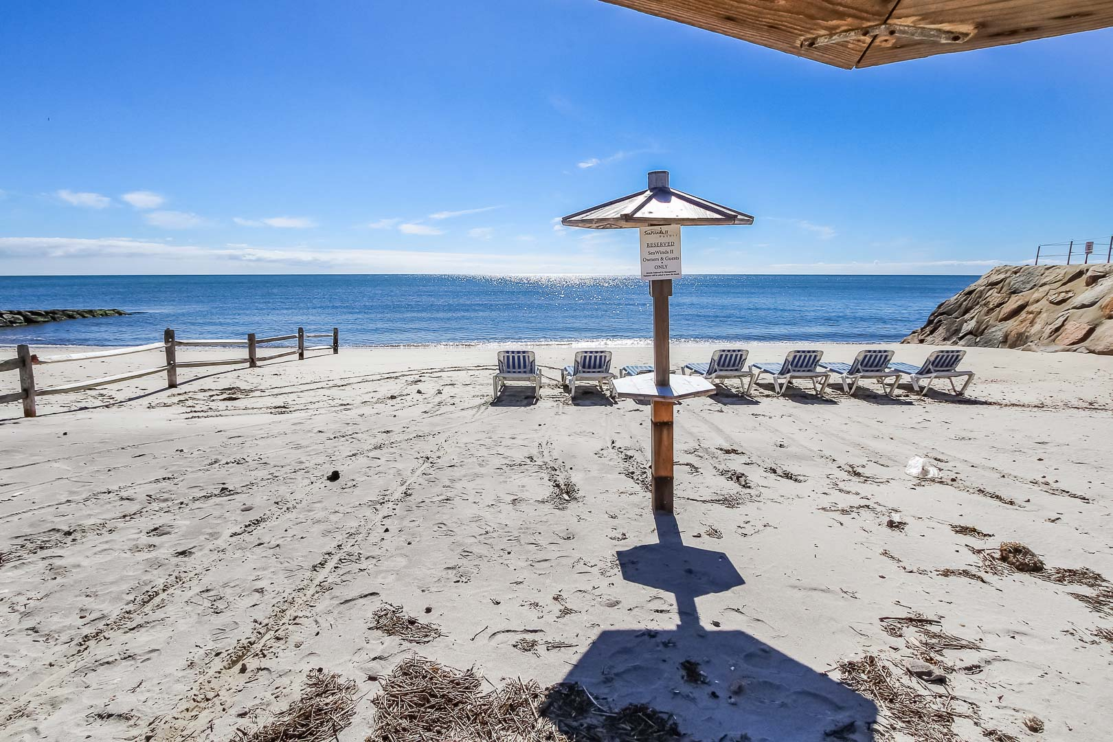 A relaxing view of the beach at VRI's Seawinds II Resort in Massachusetts.