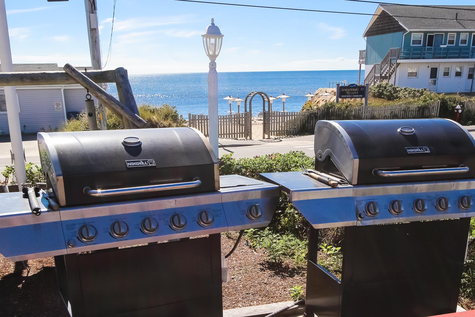 Large BBQ grills available for the family to enjoy at VRI's Seawinds II Resort in Massachusetts.