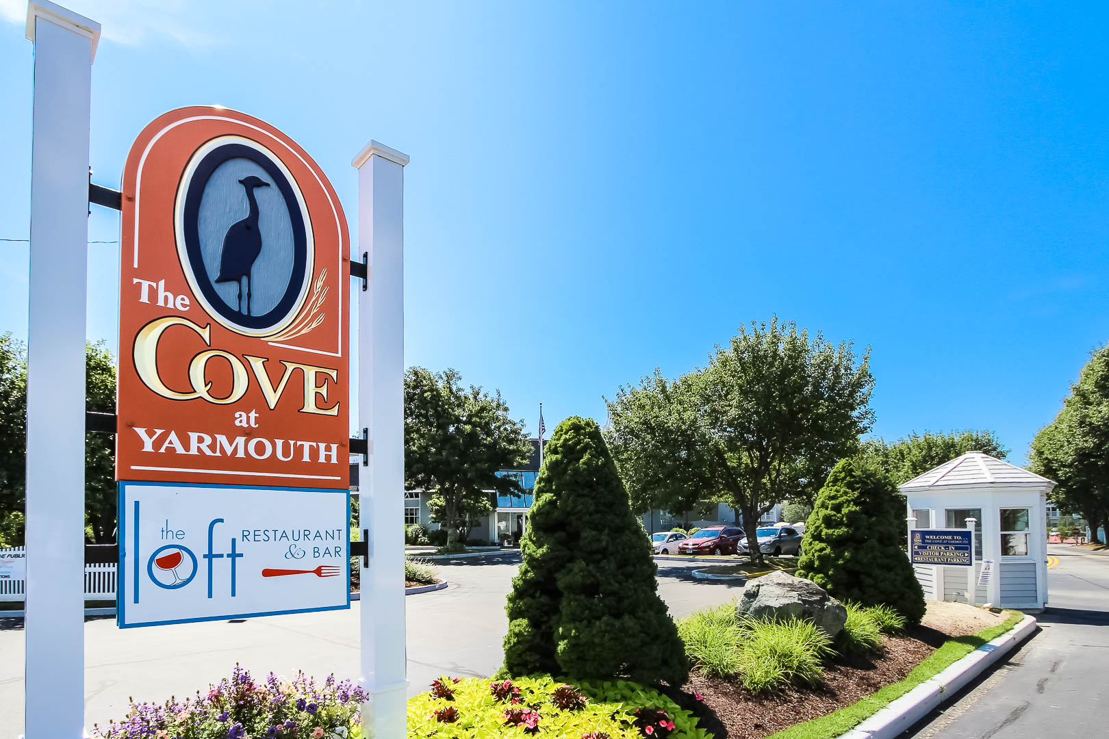 Beautiful skies and resort entrance at VRI's The Cove at Yarmouth in Massachusetts.