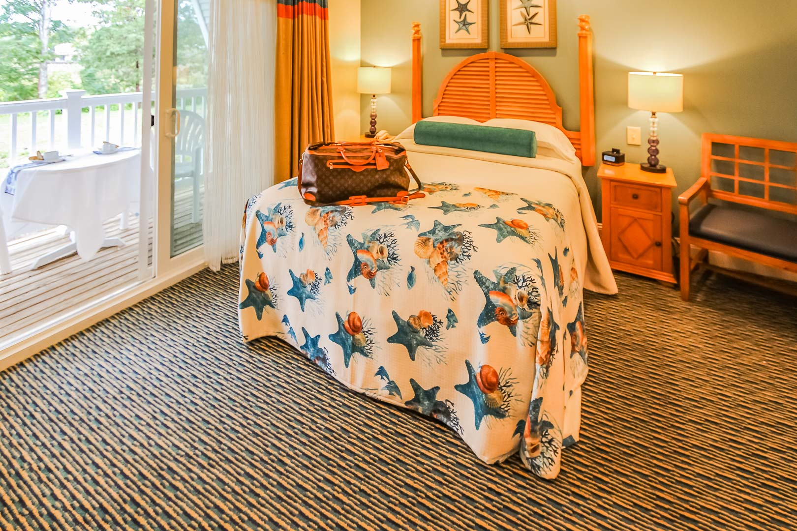 A vibrant bedroom at VRI's The Cove at Yarmouth in Massachusetts.
