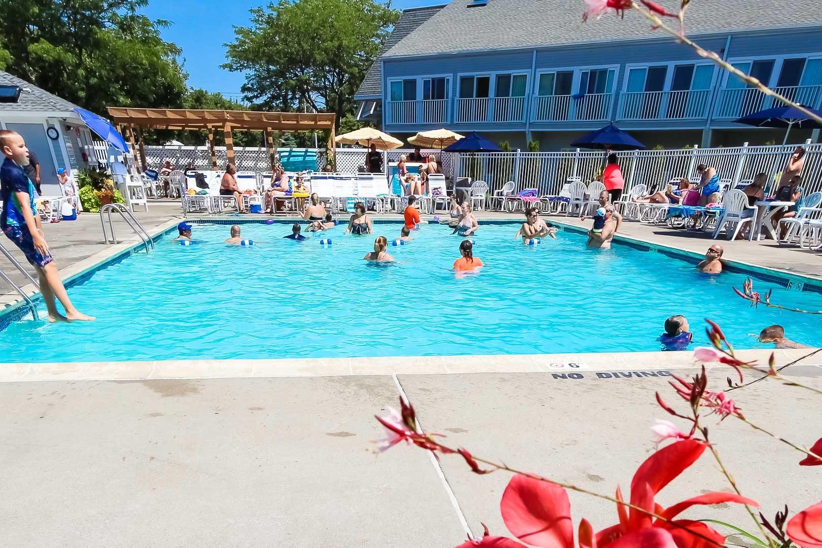A refreshing outdoor swimming pool at VRI's The Cove at Yarmouth in Massachusetts.