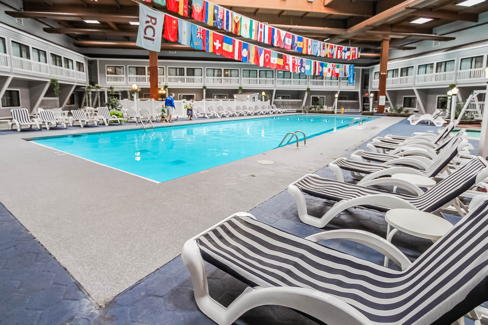 A peaceful indoor swimming pool at VRI's The Cove at Yarmouth in Massachusetts.