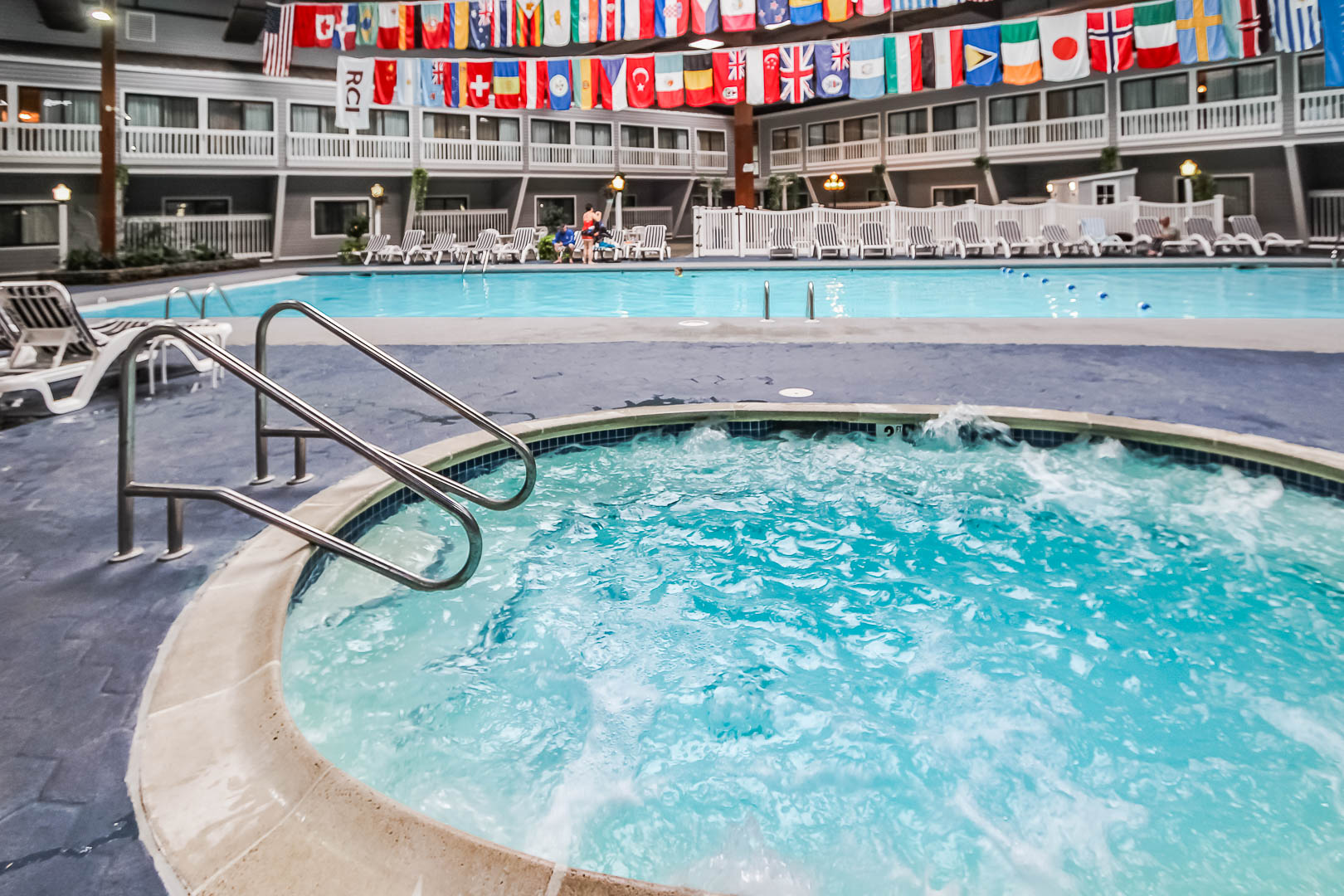 A peaceful indoor swimming pool and jacuzzi at VRI's The Cove at Yarmouth in Massachusetts.