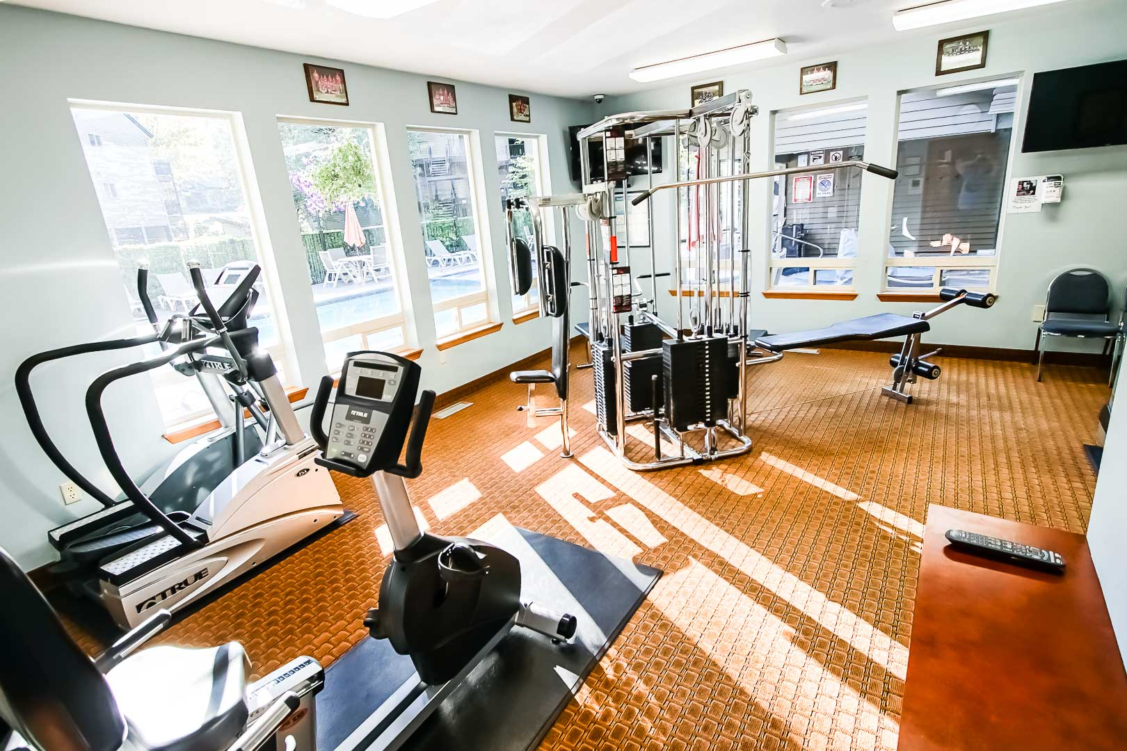 A fully equipped exercise room at VRI's Whispering Woods Resort in Oregon.