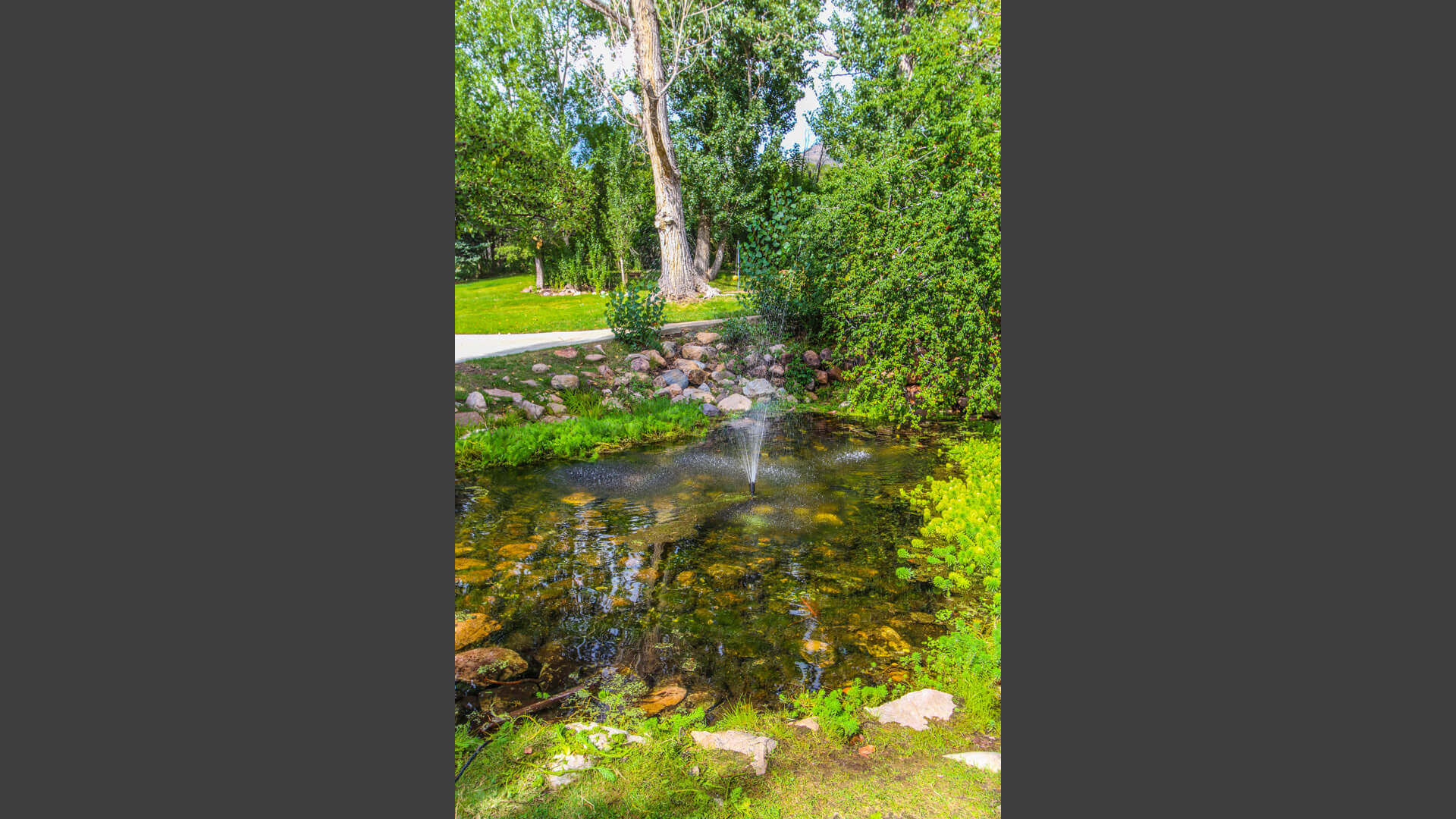 The nature filled common areas at VRI's Wolf Creek Village I in Eden, Utah.