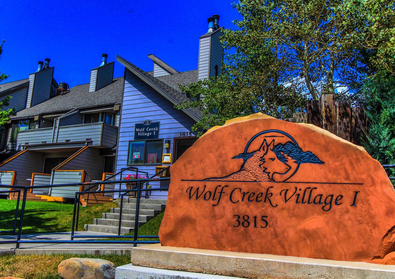 A vibrant resort signage at VRI's Wolf Creek Village I in Eden, Utah.