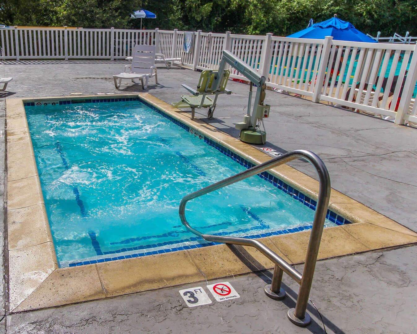 An outdoor ADA accessible Jacuzzi at VRI's Wolf Creek Village I in Eden, Utah.