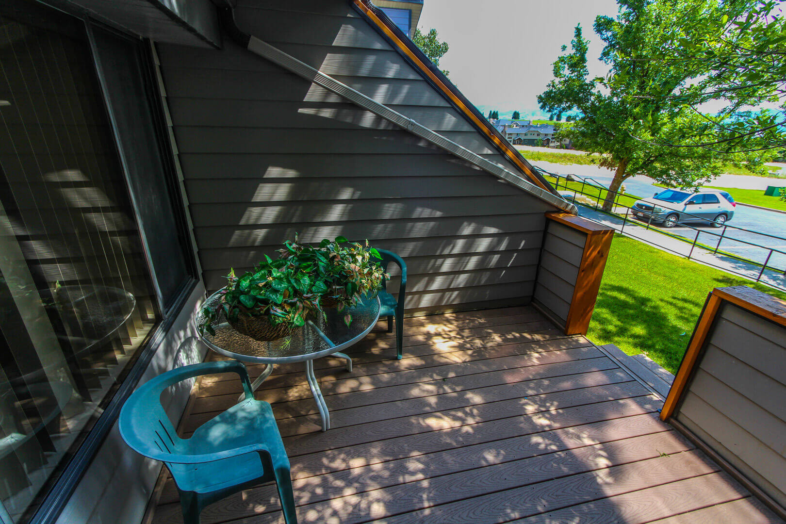 A relaxing balcony at VRI's Wolf Creek Village I in Eden, Utah.