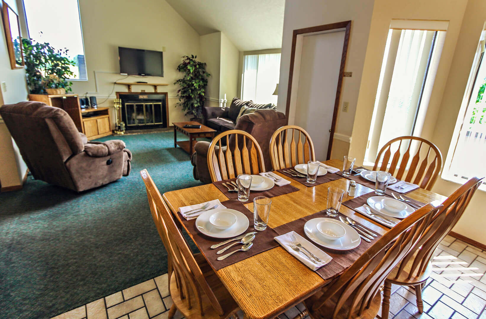 A spacious living room and dining room at VRI's Wolf Creek Village I in Eden, Utah.