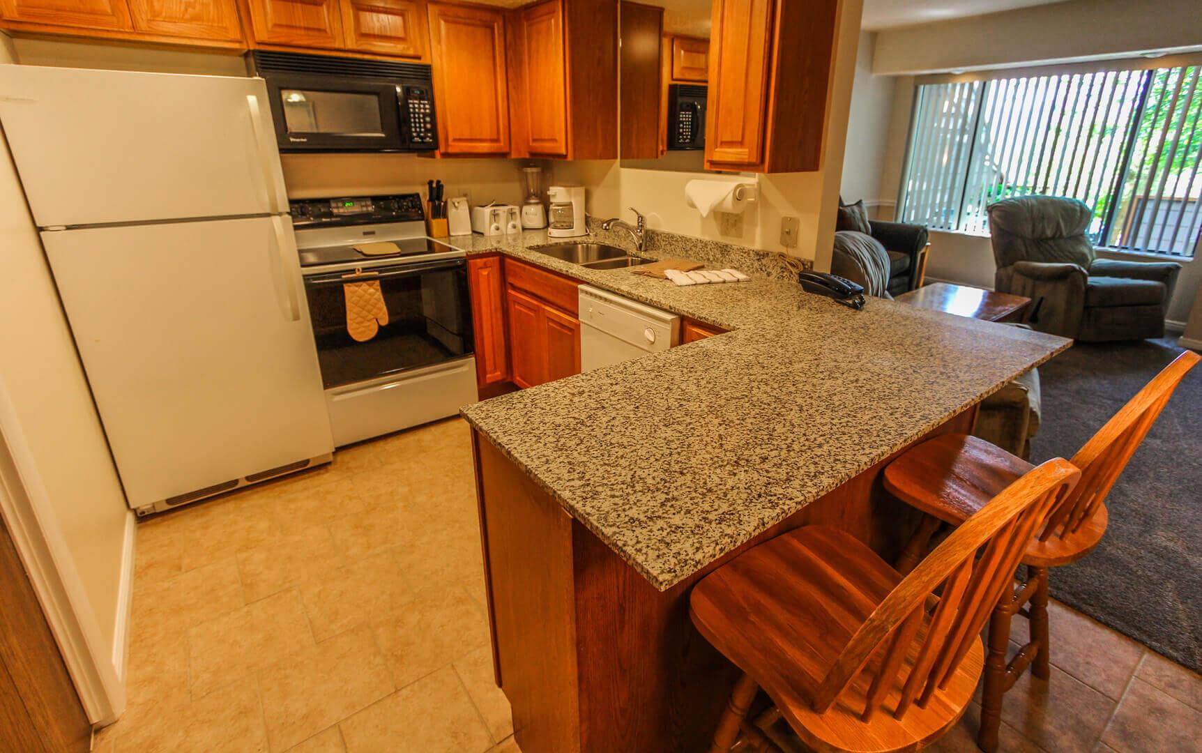 A spacious kitchen at VRI's Wolf Creek Village I in Eden, Utah.