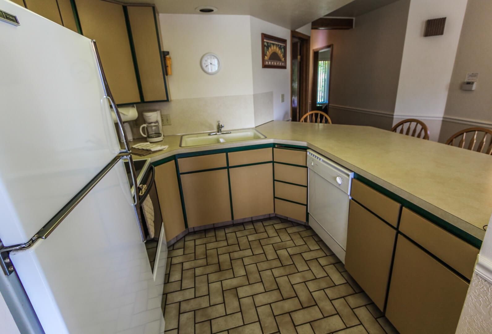 A clean kitchen at VRI's Wolf Creek Village I in Eden, Utah.