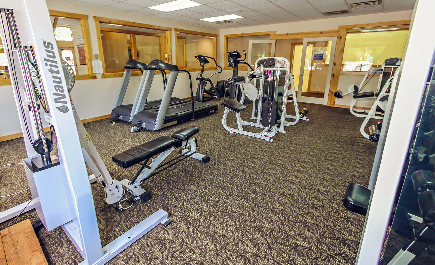 A fully equipped exercise room at VRI's Wolf Creek Village I in Eden, Utah.