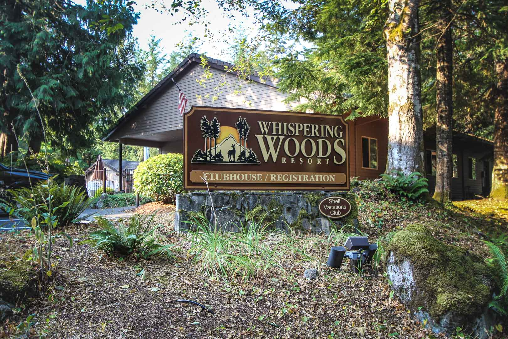 A resort signage at VRI's Whispering Woods Resort in Oregon.