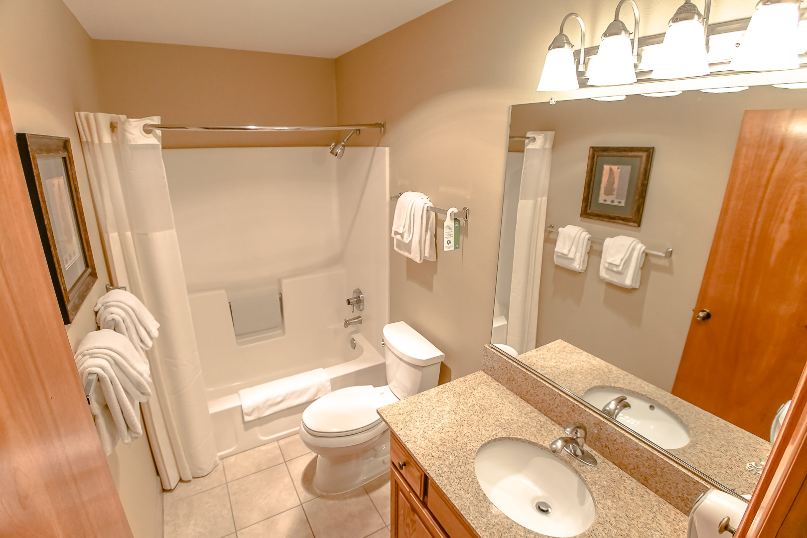A clean bathroom at VRI's Whispering Woods Resort in Oregon.