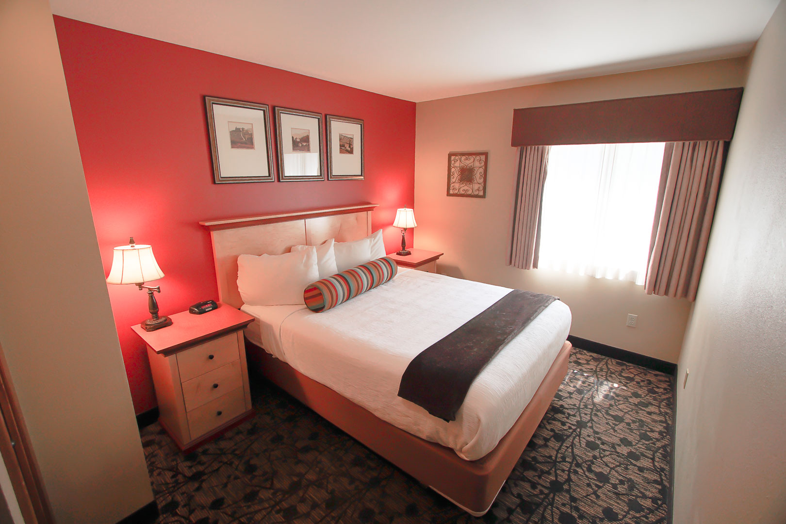 A renovated bedroom at VRI's Whispering Woods Resort in Oregon.