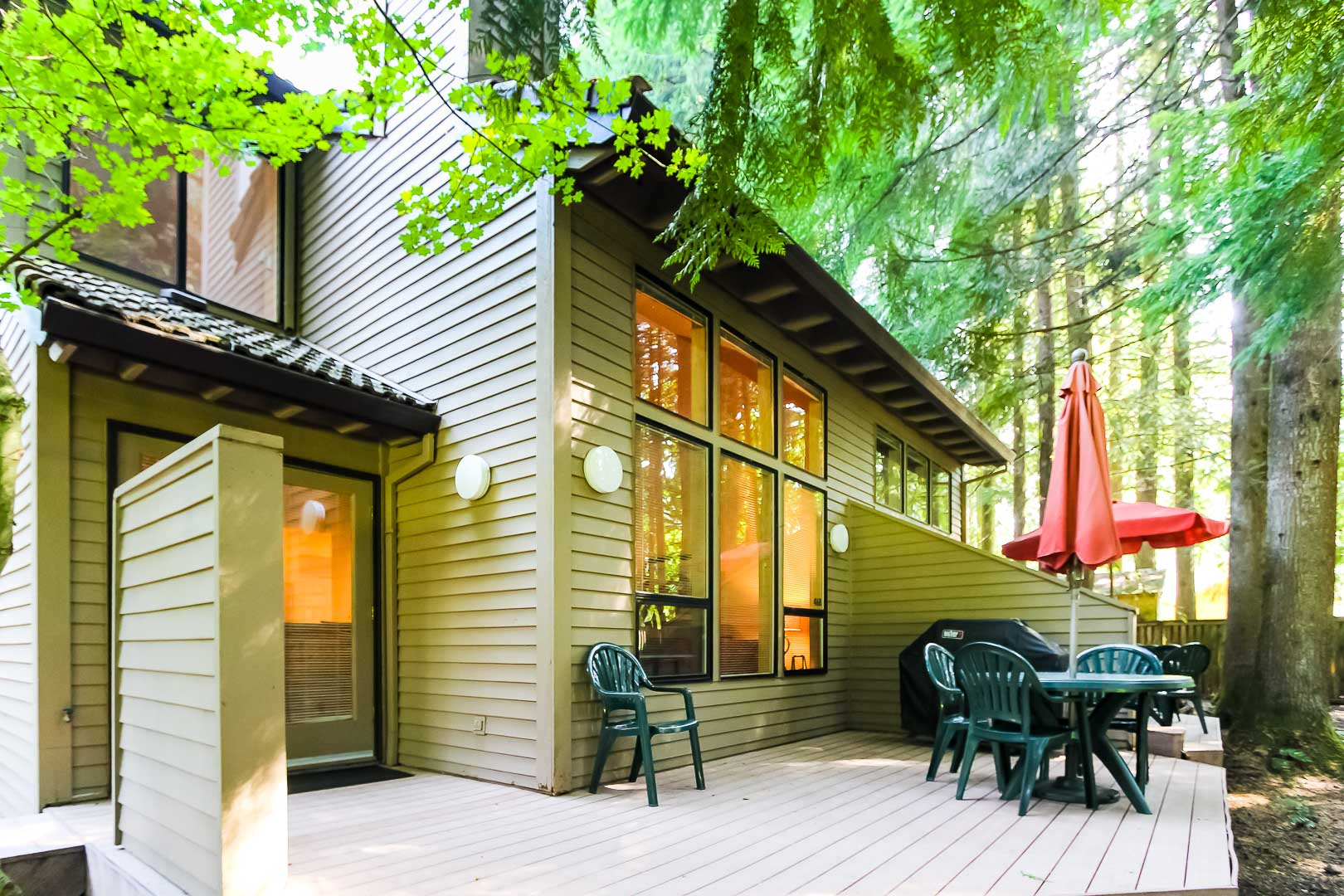 A view of the accommodations at VRI's Whispering Woods Resort in Oregon.