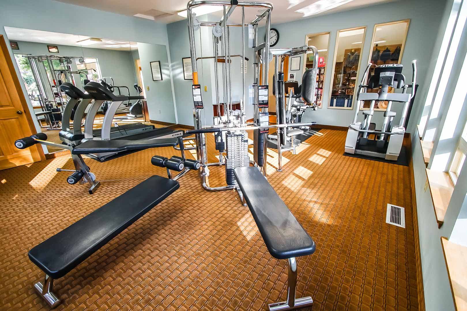A spacious exercise room at VRI's Whispering Woods Resort in Oregon.