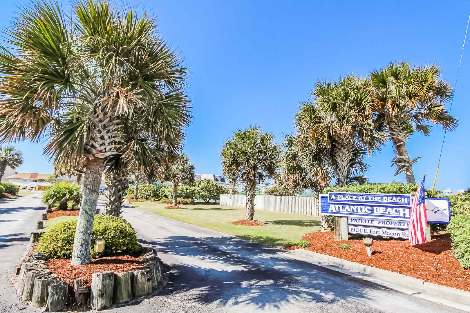 The inviting resort entrance at A Place at VRI's A the Beach III in North Carolina