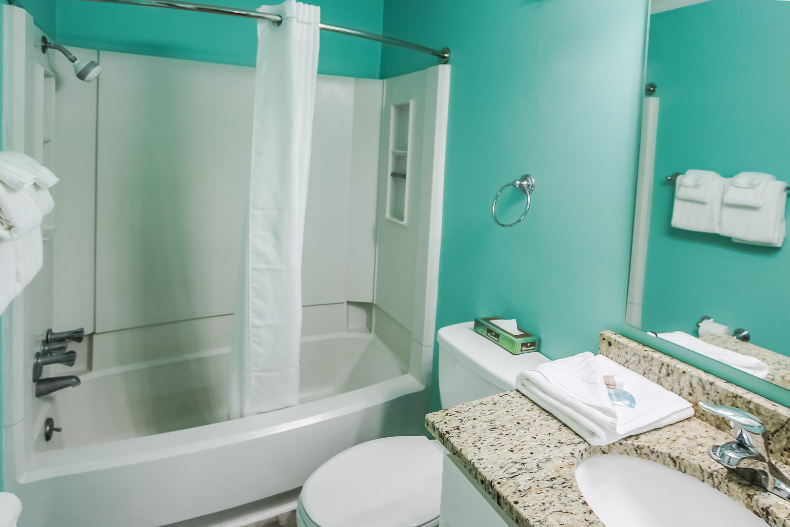A standard bathroom at VRI's A Place at the Beach III in North Carolina