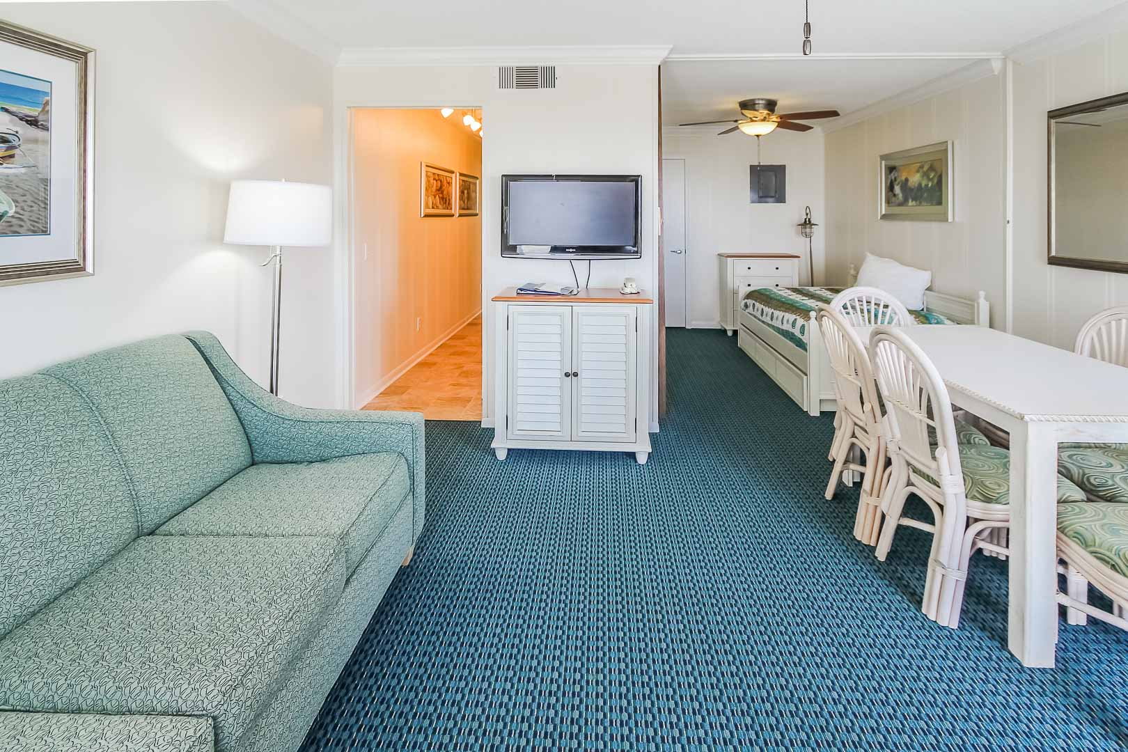 A cozy living room area at VRI's A Place at the Beach III in North Carolina