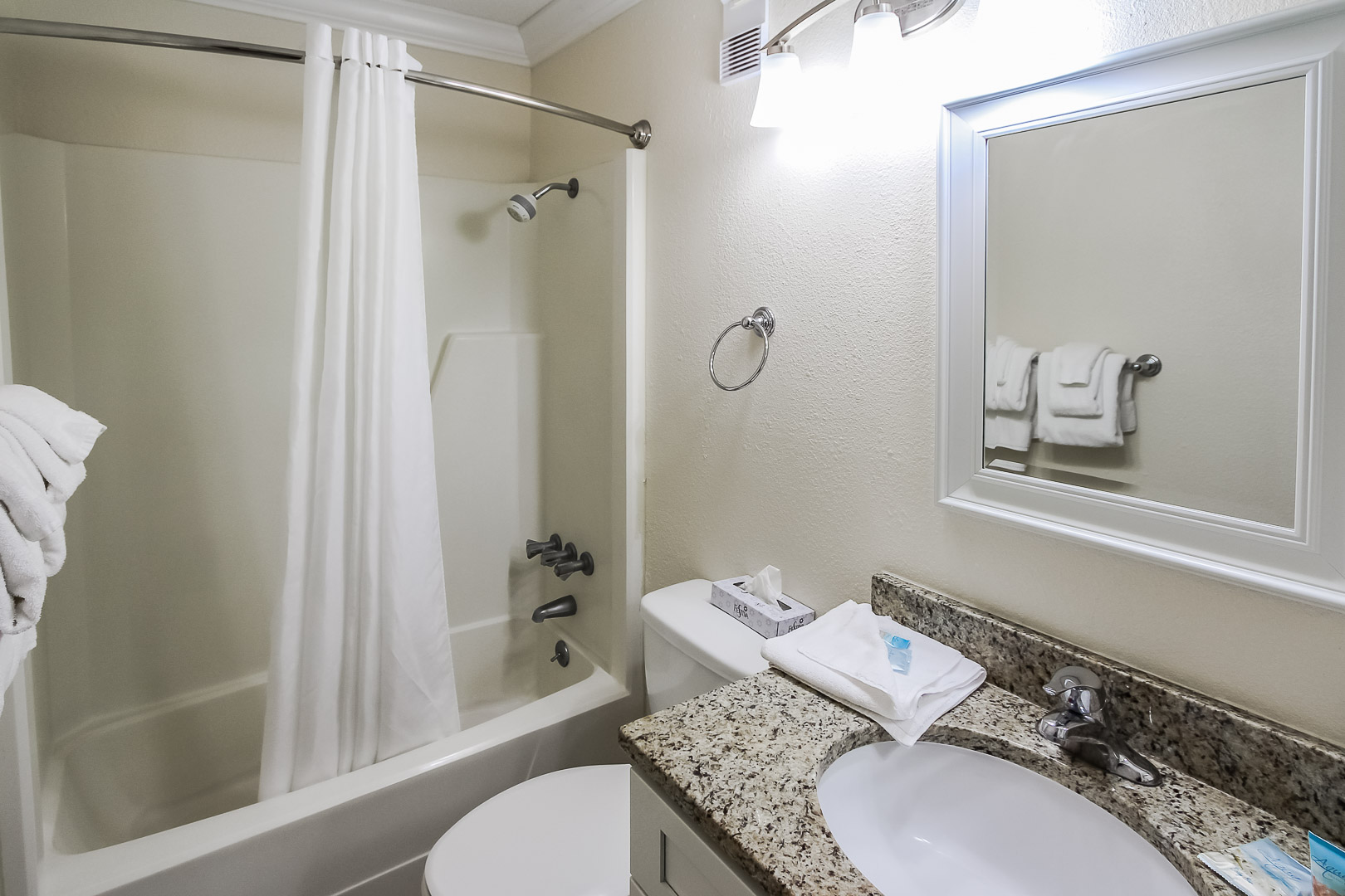 A refreshing bathroom at VRI's A Place at the Beach III in North Carolina