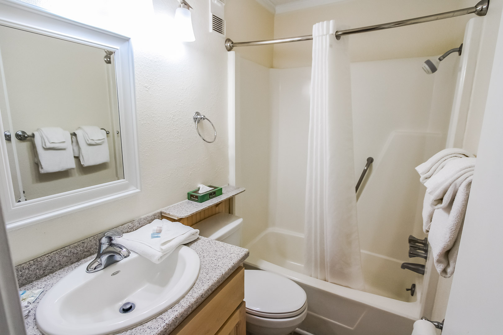 A crisp bathroom at VRI's A Place at the Beach III in North Carolina