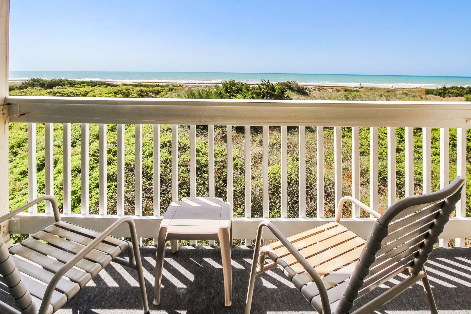 A relaxing balcony view at VRI's A Place at the Beach III in North Carolina