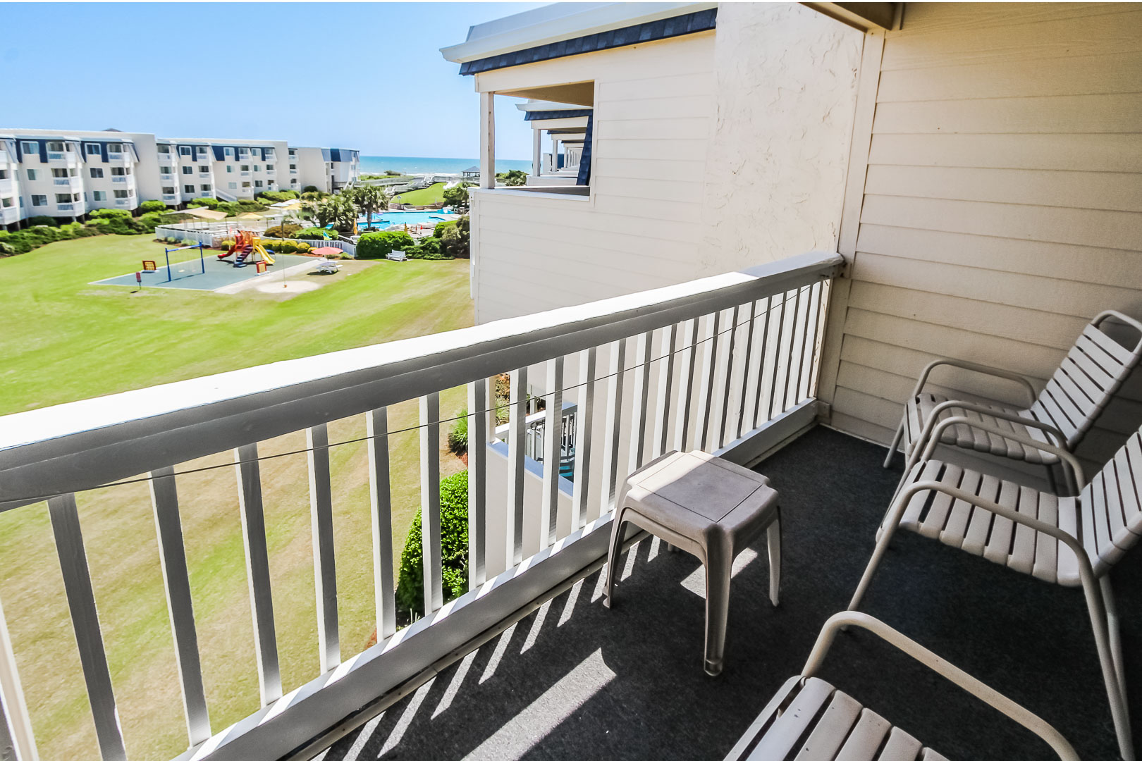 A pleasant resort view from the balcony at VRI's A Place at the Beach III in North Carolina