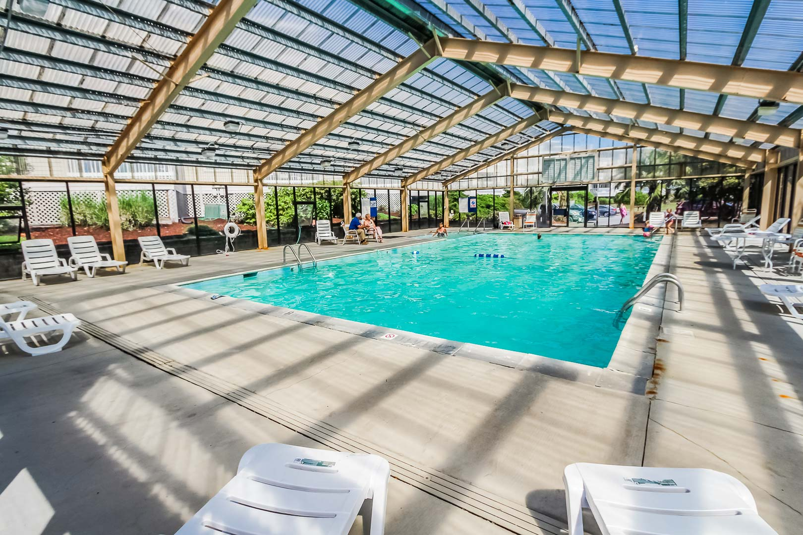 A quaint indoor pool at VRI's A Place at the Beach III in North Carolina