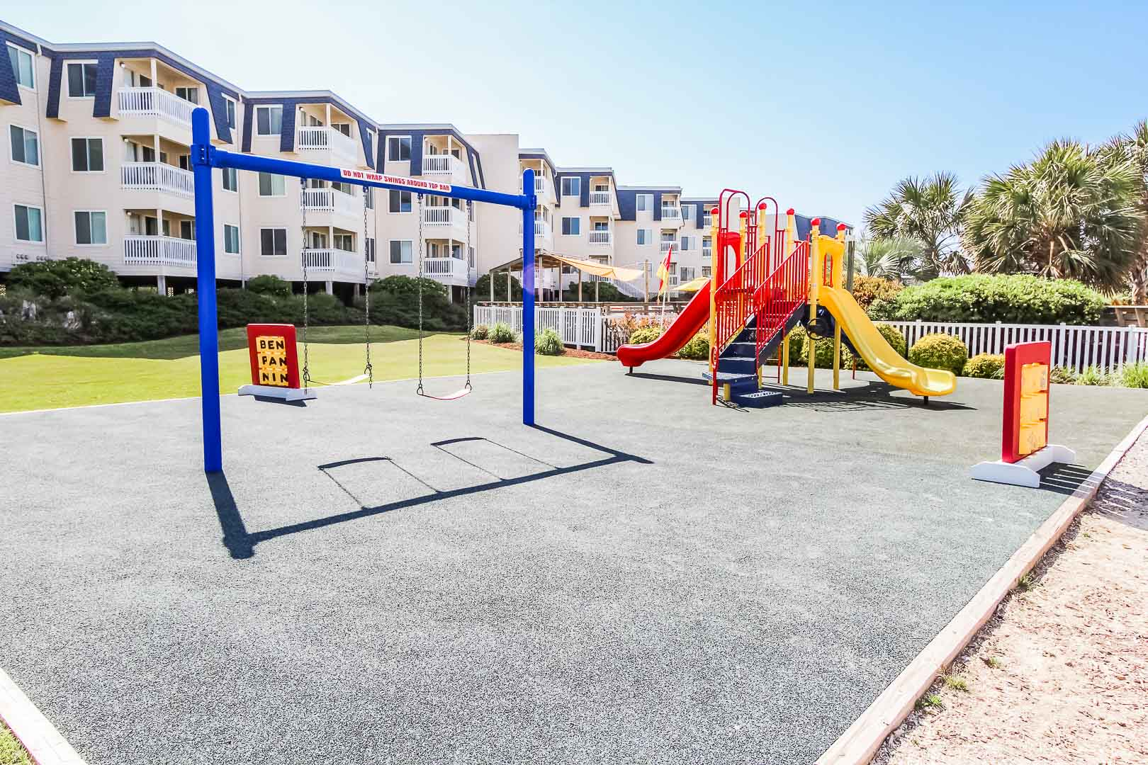 A colorful playground area at VRI's A Place at the Beach III in North Carolina
