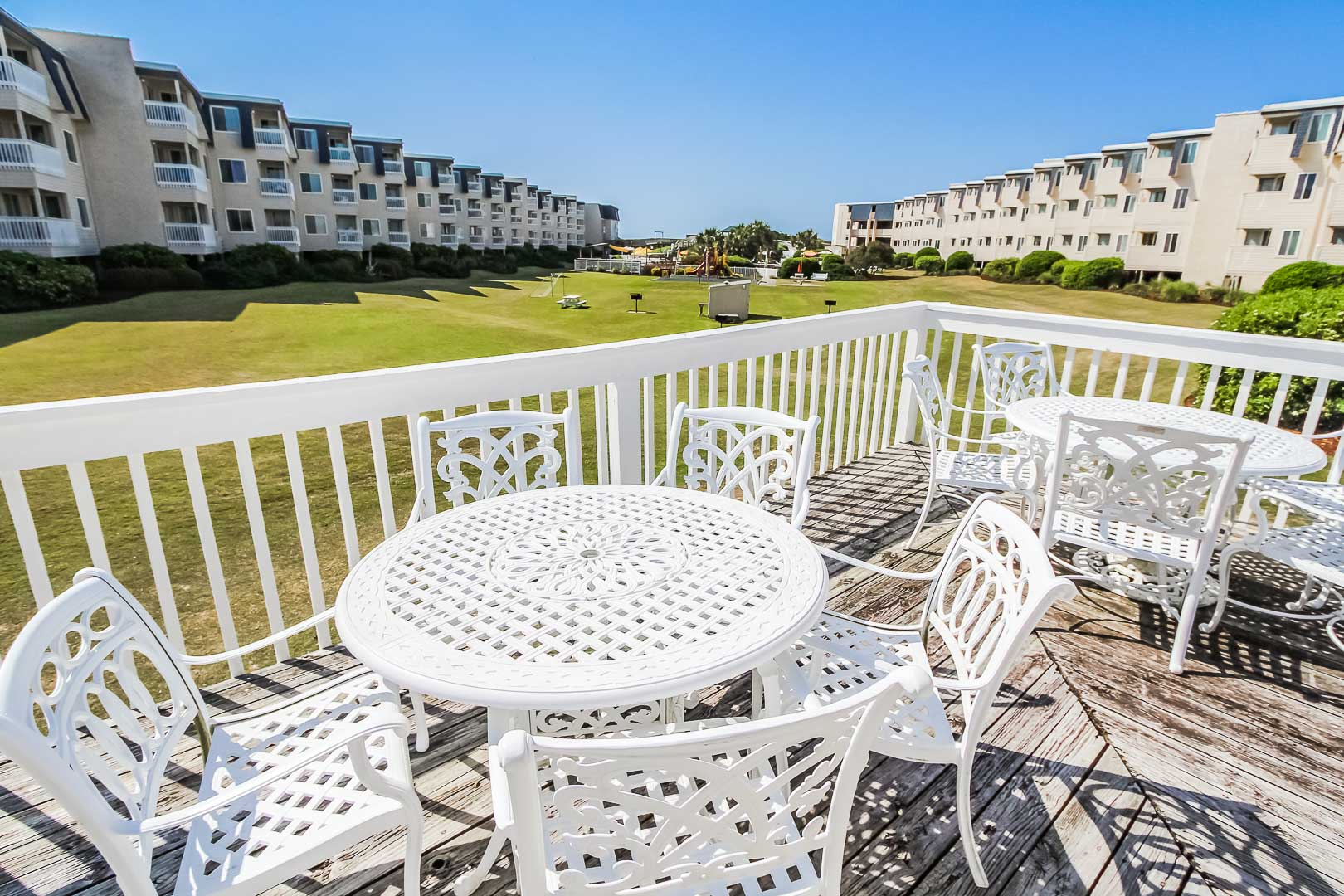 A relaxing patio deck at VRI's A Place at the Beach III in North Carolina