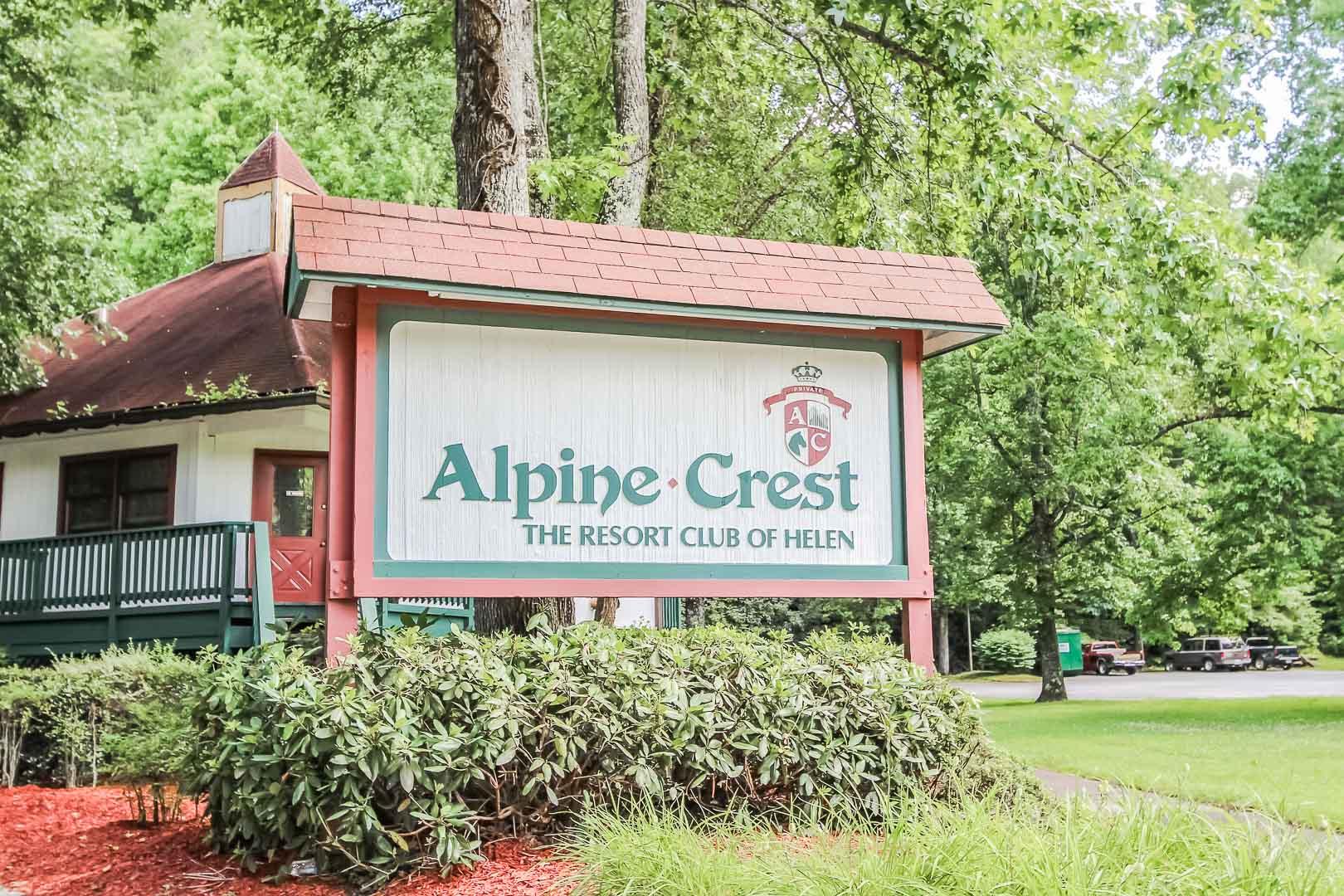 The resort signage at VRI's Alpine Crest Resort in Georgia.