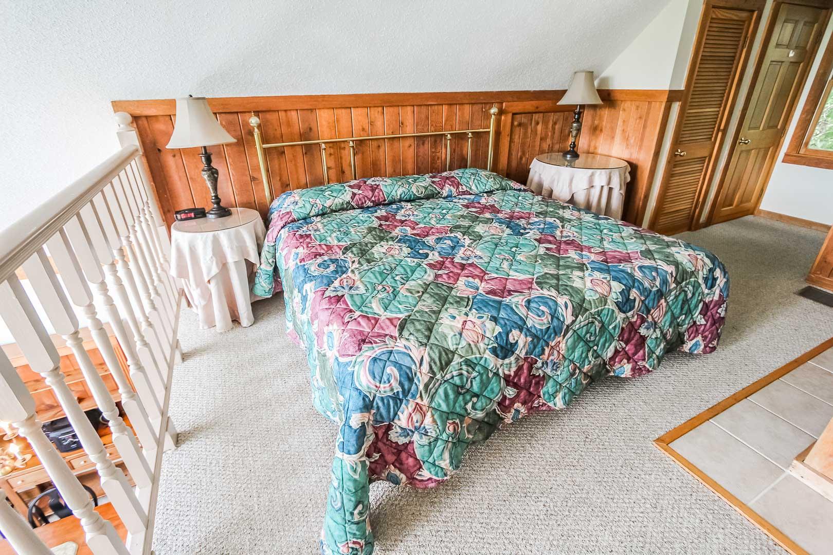 A cozy master bedroom at VRI's Alpine Crest Resort in Georgia.