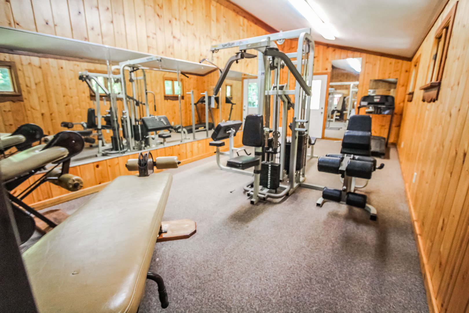 A fully equipped exercise room at VRI's Alpine Crest Resort in Georgia.